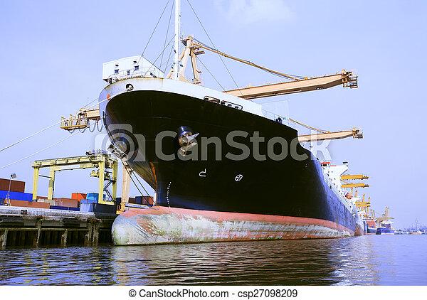 commercial, bateau, chargement, récipient, port - csp27098209