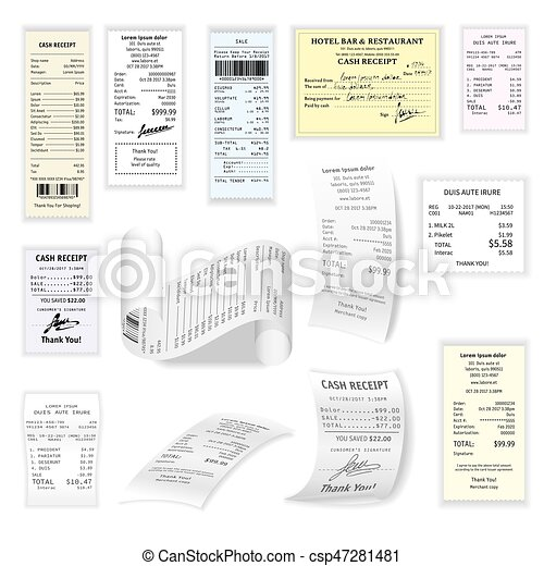 Commercial cheques vector flat set isolated on white - csp47281481
