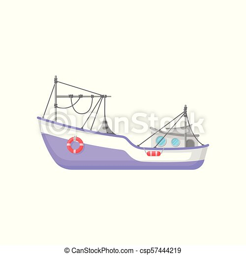 Commercial fishing boat with trawling gear and lifebuoys  Flat vector icon  of purple ship  Design for mobile game or poster