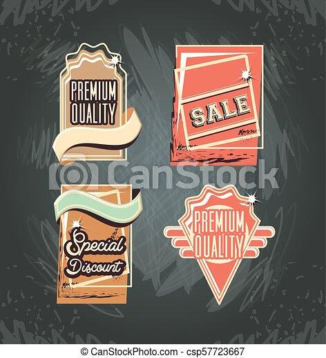commercial labels retro style - csp57723667