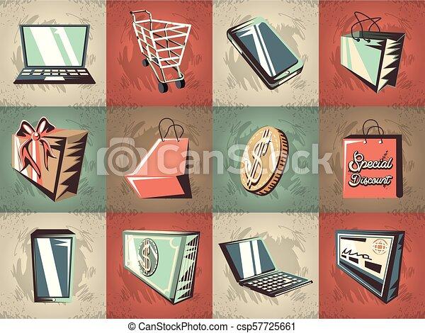 commercial labels retro style - csp57725661