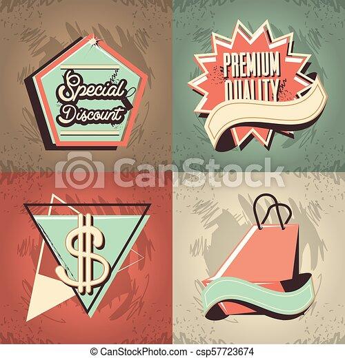 commercial labels retro style - csp57723674