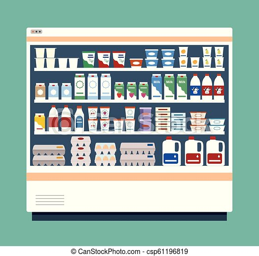 Commercial refrigerator full of dairy products. - csp61196819
