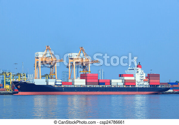 commercial ship and container on port use for import ,export and - csp24786661
