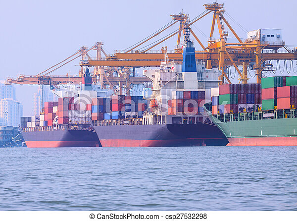 commercial ship loading container in shipping port image use for import ,export nautical vessel transport and industry logistic - csp27532298