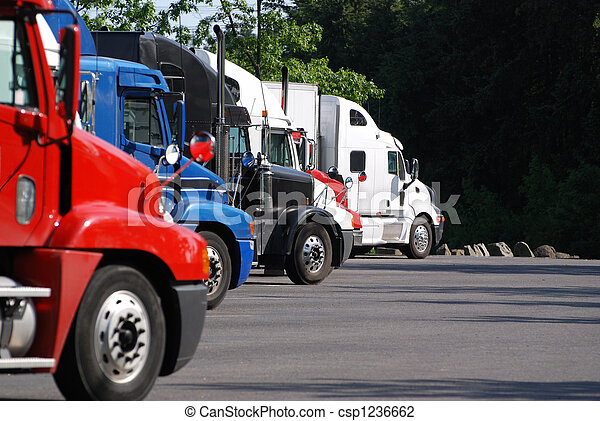 Commercial Trucks parked in a row. - csp1236662