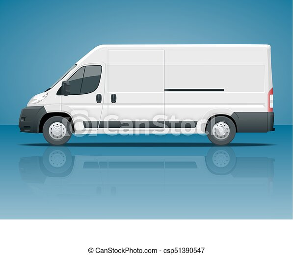 Commercial vehicle or Logistic car. Cargo minivan isolated on blue background Side view Change the color in one click All elements in groups on separate layers - csp51390547