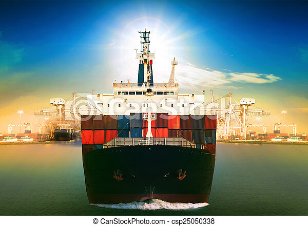 commercial vessel ship and port container dock behind use for fr - csp25050338