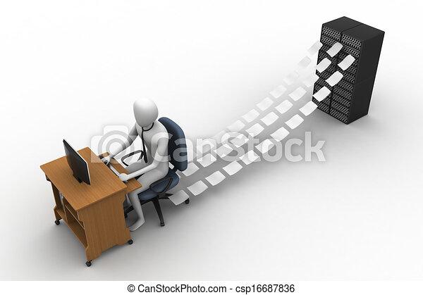 commis, bureau, fonctionnement, 3d - csp16687836