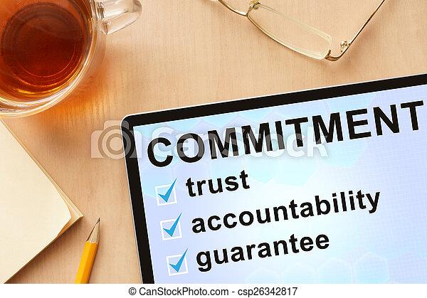 commitment., palabra, tableta - csp26342817