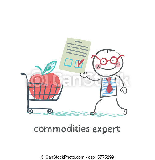 commodities expert merchandise with the document stands near the applecart - csp15775299