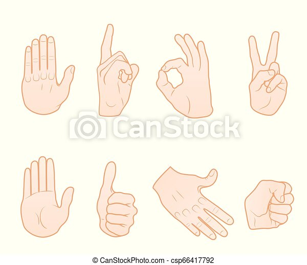 Common Hand Gestures Set Of Different Hand Poses