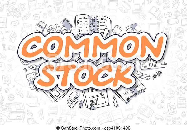 Common Stock - Doodle Orange Inscription. Business Concept. - csp41031496
