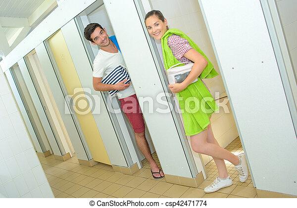 communal bathroom at campsite - csp42471774