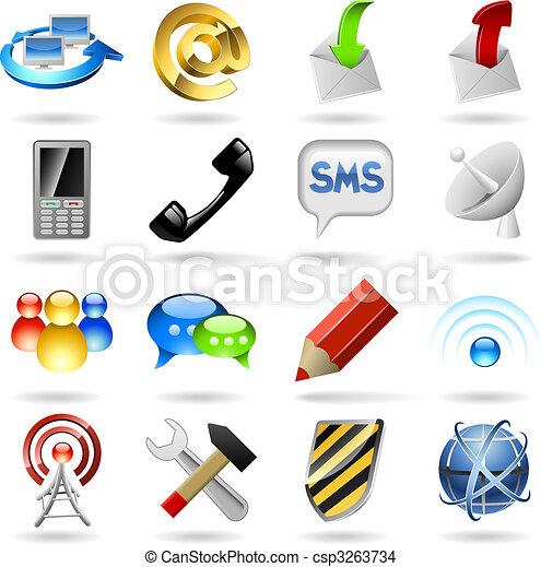 communicatie, iconen - csp3263734