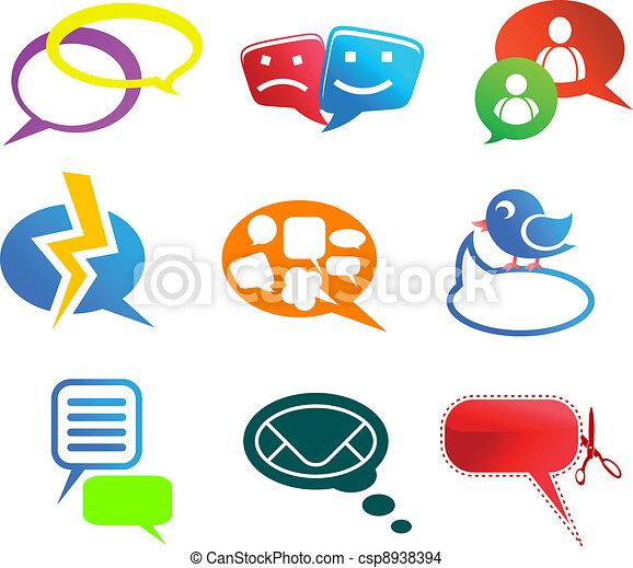 communicatie, praatje, iconen - csp8938394