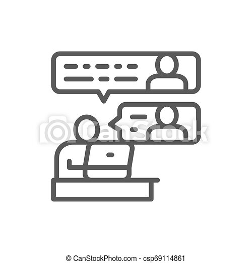 Communication between team members line icon. - csp69114861