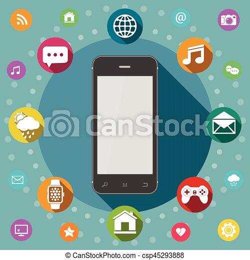 Communication concept. Smart phone flat design. - csp45293888