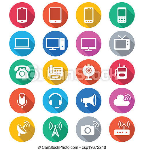 Communication device flat color icons - csp19672248