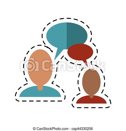 communication-dotted, mensen pratend, toespraak, lijn, bel - csp44330206