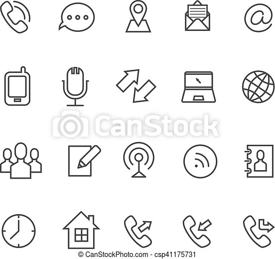 Communication line vector icons for business card email and communication line vector icons for business card reheart Choice Image