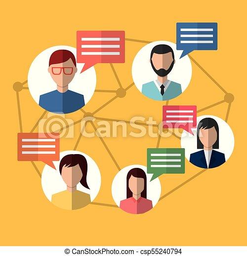 communication, message, gens, bavarder, internet - csp55240794