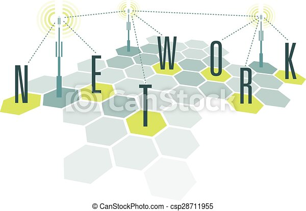 Communication network cells with letters  - csp28711955