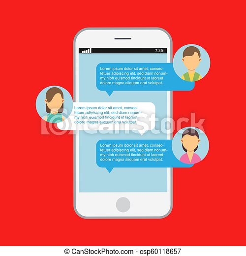 Communication online chat  Web notification messenger mobile speech  isolated  App website dialog phone vector  Display message on device  screen