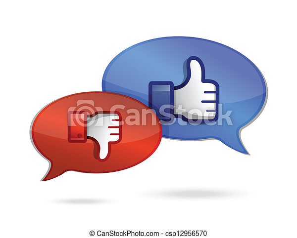 communication or chatting thump up & thumb down - csp12956570
