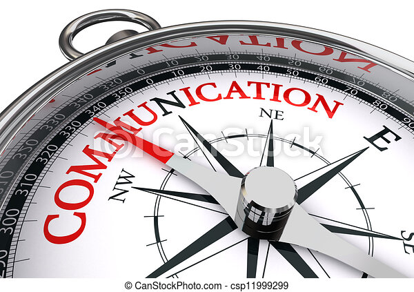 communication red word on conceptual compass - csp11999299