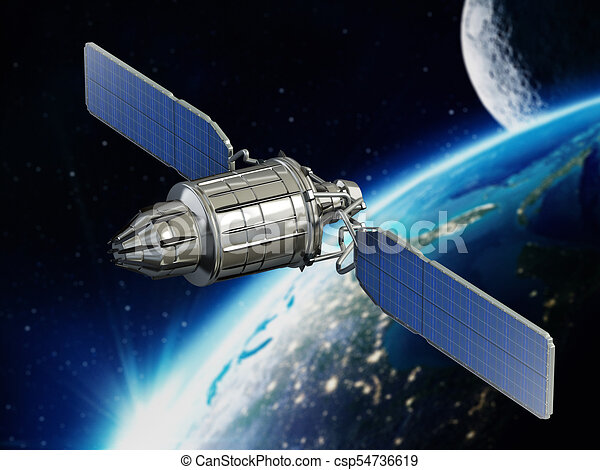 communication satellite orbiting earth 3d illustration