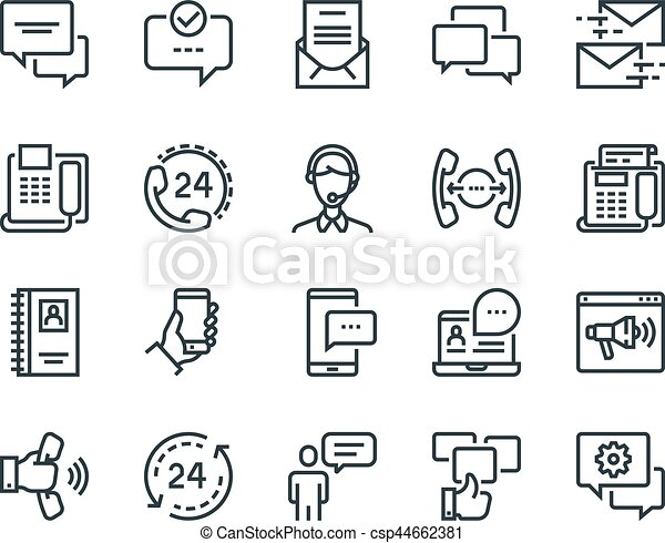Communication Set Of Outline Vector Icons Includes Such As Phone Calls Video Chat On Line Support And Other Editable Stroke 48x48 Pixel Perfect