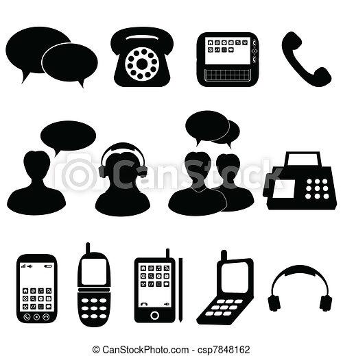 communication, téléphone, icônes - csp7848162