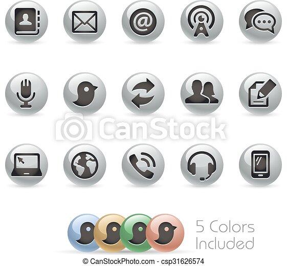 Communications Icons - Metal Round - csp31626574