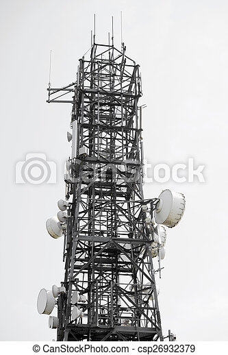 communications tower against a white sky - csp26932379