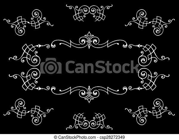 communie, frame, calligraphic, black , ontwerp, witte  - csp28272349