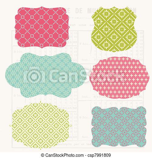 communie, oud, kleurrijke, markeringen, ouderwetse , -, ontwerp, lijstjes, plakboek - csp7991809