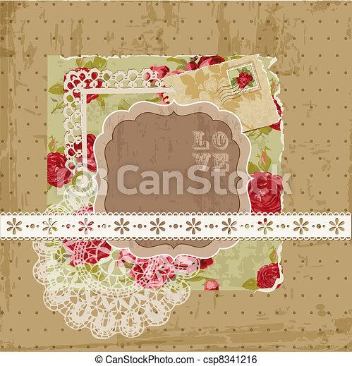 communie, ouderwetse , -, vector, ontwerp, plakboek, bloemen - csp8341216