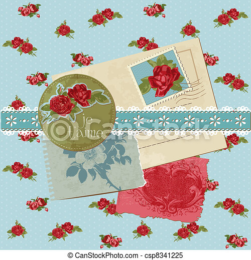 communie, ouderwetse , -, vector, ontwerp, plakboek, bloemen - csp8341225