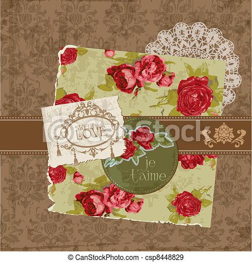 communie, ouderwetse , -, vector, ontwerp, lijstjes, plakboek, bloemen - csp8448829