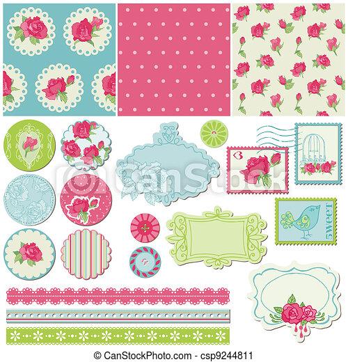 communie, roos, -, vector, ontwerp, plakboek, bloemen - csp9244811