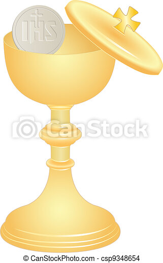 communion cup and host - csp9348654