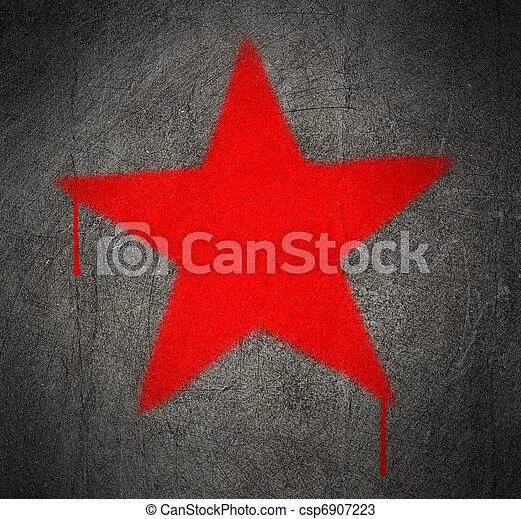 Communist Red Star Graffiti On A Grunge Concrete Wall
