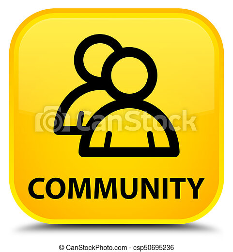 Community (group icon) special yellow square button - csp50695236