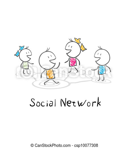 Community people. Conceptual illustration of the social network - csp10077308