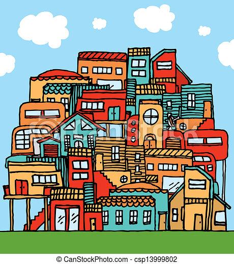 Stupendous Community Piled Cartoon Houses Download Free Architecture Designs Scobabritishbridgeorg