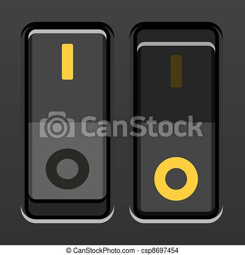 commutateurs, cabillot, vecteur, noir, puissance - csp8697454