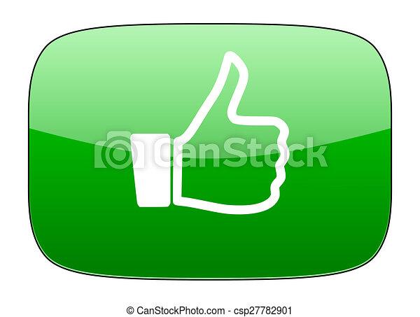 como, arriba, señal, verde, icono, pulgar - csp27782901