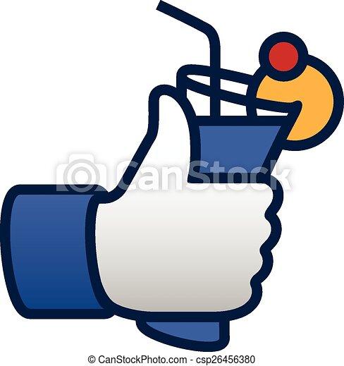 Como fiesta, pulgares arriba símbolo icono con cóctel - csp26456380