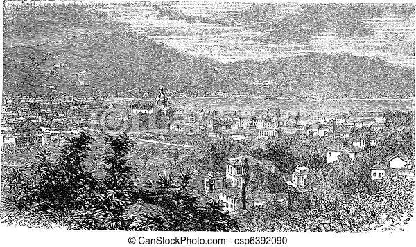 Como, in Lombardy, Italy, vintage engraving - csp6392090